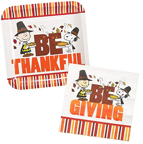 Snoopy Thanksgiving Party Supplies Set: Plates, Napkins - 24 Pieces