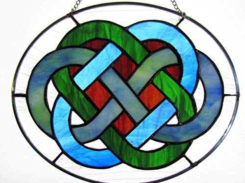 Hand Made Stained Glass Celtic Wedding Knot Sky Blue and Green Streaky Ring with Figure Eight Mix Blue Green White