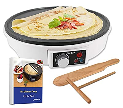 """12"""" Electric Crepe Maker by StarBlue with FREE Recipes e-book and Wooden Spatula - Nonstick and Portable Pan, Compact, Easy Clean with On/off button"""