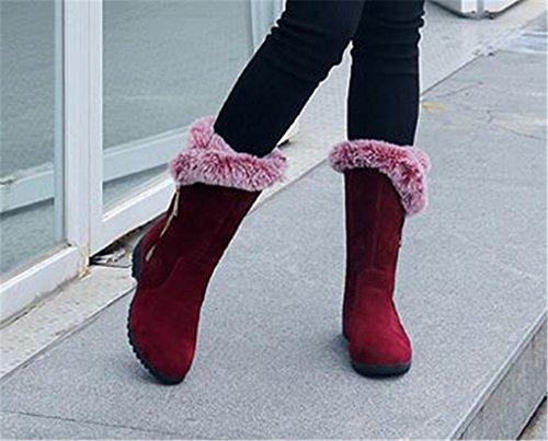 Hebilla De Piel Sintética De Invierno Cálido Para Mujer Cuña Ocultada Plataforma Impermeable Antideslizante De Media Pantorrilla Botas De Nieve Rojo