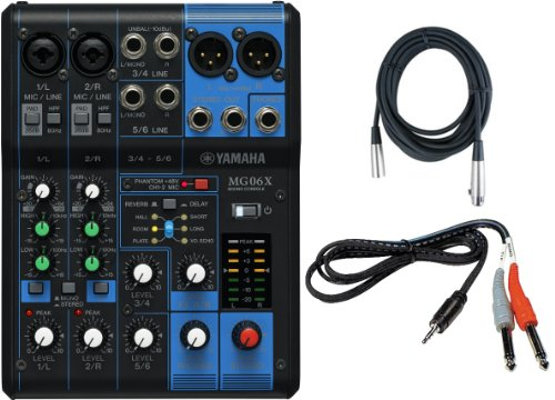 Yamaha MG06X 6 Input Stereo Mixer (with SPX Effects) w/ Stereo 1/8'' TRS to Dual 1/4'' Breakout Cable and (1) 20' XLR Mic Cable by Yamaha