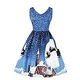 Fenxxxl Womens V Neck Sleeveless Vintage Tea Party Dress Christmas Santa Claus Dress
