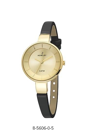 Reloj Mujer,marca Nowley, acero chapado con correa de piel negra, 3 ATM: Amazon.es: Relojes