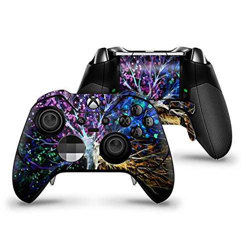 Inverted Abstract Colorful WaterColor Vivid Tree - Protective Vinyl DesignSkinz Decal Sticker Skin-Kit for the Microsoft Xbox ONE Elite Controller