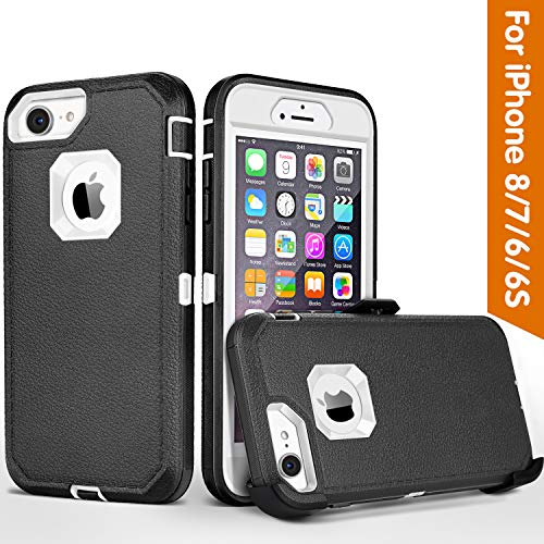 iPhone 8 case,iPhone 7 Case, iPhone 6s Case, FOGEEK Belt-Clip Protective Heavy Duty Kickstand Cover [Shockproof] Cover Compatible for iPhone 8/7/6/6s (NOT Plus) (Black and White)