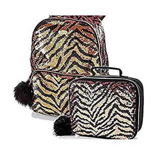 Justice Set of 2 School Backpack & Lunch Tote Flip Sequin Gold Tiger