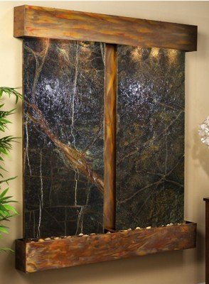 Adagio Cottonwood Falls With Green Rainforest Marble in Rustic Copper Finish and Squared Edges Fountain