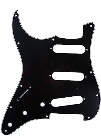 Musiclily SSS 11穴左利きのアメリカ/メキシカンストラトキャスターギター用ピックガード、3プライブラック
