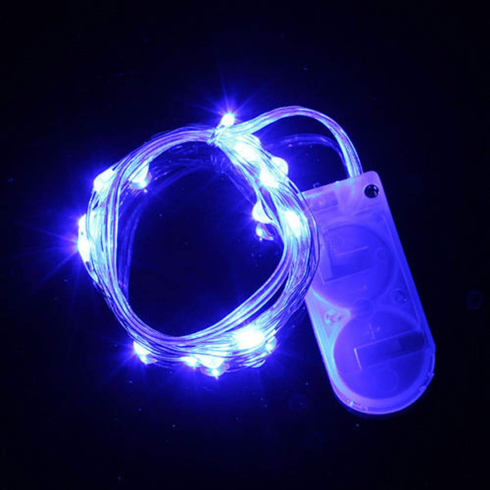 Xmas Lights Indoor,20 LED Battery Power Operated Mini Fairy String Light with Batteries for Bedroom,Porch Patio Lights,Blue,20 LED