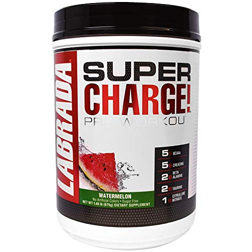 Labrada Nutrition Super Charge Pre Workout, Nitric Oxide Boosting Performance Enhancer with BCAAs, Creatine Monohydrate and 8 More Clinically Dosed Ingredients, Watermelon, 625 Gram