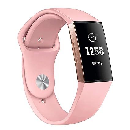 Kmasic Bracelet de Compatible avec Fitbit Charge 3 & 3 Se, Bracelet de Rechange pour Bracelet en Silicone Souple Montre de Remise en Forme Fitbit ...