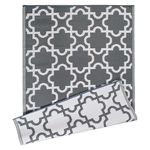 DII Moroccan Indoor/Outdoor Lightweight, Reversible, & Fade Resistant Area Rug, Use For Patio, Deck, Garage, Picnic, Beach, Camping, BBQ, Or Everyday Use - 4 x 6', Gray Lattice by DII