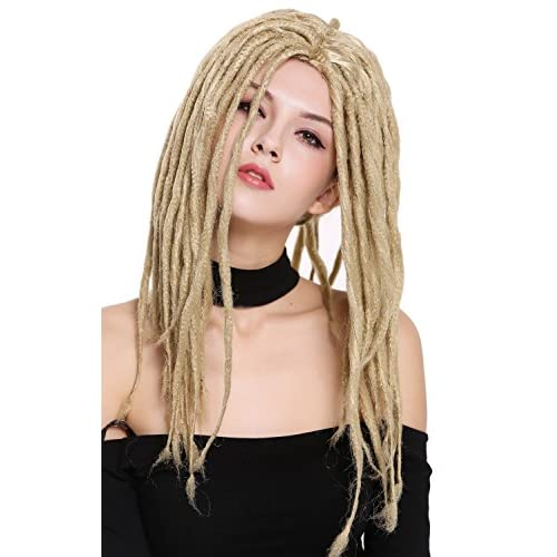 WIG ME UP ® - 90674-ZA89 Perruque dame homme carnaval dreadlocks rasta reggae hippie surfer dreads blondes 40 cm
