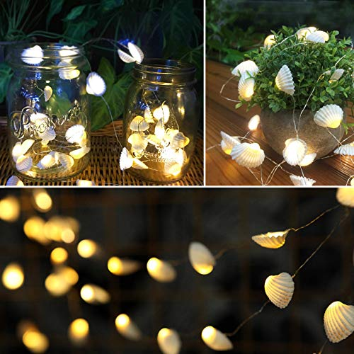 (SFgift 13.85 ft Battery Operated Ocean Real Seashell LED String Lights with Timer and Remote Control, Beach Themed 40 Warm White LEDs for Indoor, Covered Outdoor, Birthday, Wedding, Summer Holiday)