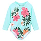 HUANQIUE Baby/Toddler Girl Swimsuit Rashguard Swimwear Long Sleeve One-Piece Aqua 5-6 T