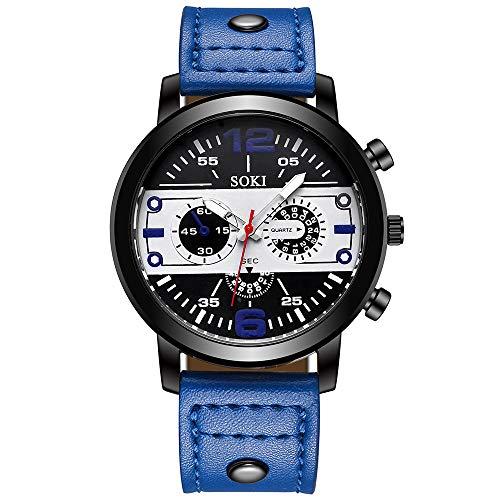 Men's Analog Fashion Casual Military Chronograph Rectangular Luminous Quartz Wrist Watch with Leather Strap for Business Work & Sports Daoroka (Blue)