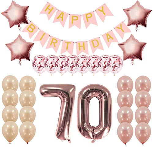 Rose Gold 70th Birthday Decorations Party Supplies Gifts for Women - Create Unique Events with Happy Birthday Banner, 70 Number and Confetti Balloons -