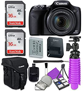 Canon PowerShot SX530 HS Wi-Fi Digital Camera with 2x Sandisk 16 GB SD Memory Cards + Tripod + Canon Case + Card Reader + Cleaning Kit