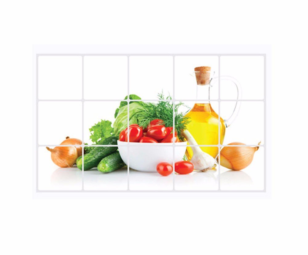 MONsin Colorful Various Vegetables Fruit Kitchen Wall Art Oil-Proof Water-Proof Heat-Resistant Painting Picture Food for Home Decor (Multicolor)