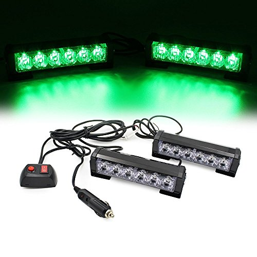 (LEAGUE&CO 2 X 6 LED 9 Modes Car Truck Vehicle Emergency Hazard Warning Strobe Flash Lights For Interior Roof/Dash/Windshield/Grille/Deck (Green))