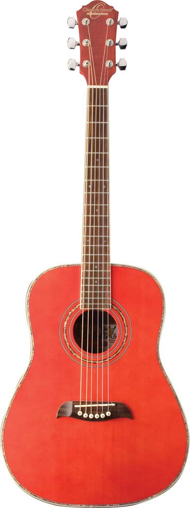 Oscar Schmidt OGHS-TR 1/2 Size Dreadnought Acoustic Guitar - Transparent Red