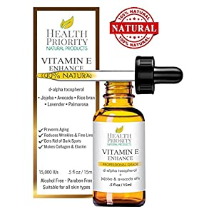 100% Natural & Organic Vitamin E Oil For Your Face & Skin – 15,000/30,000 IU – Reduces Wrinkles & Lightens Dark Spots. Mixed With Jojoba, Avocado & Rice Bran Oils. Liquid D Alpha Tocopherol Serum.