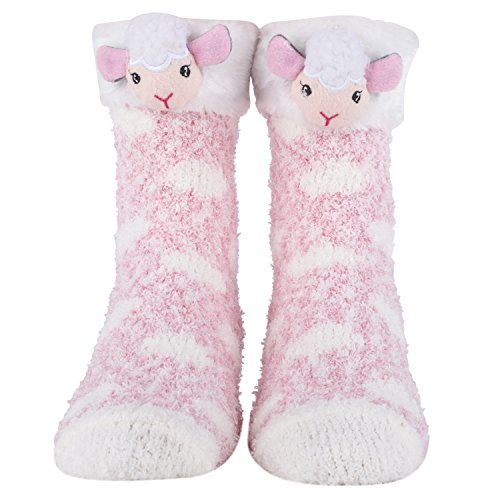 Cozy Christmas and Furry Critter Socks with Santa, Reindeer and More! Soft and Plush Socks for Women (Lamb)