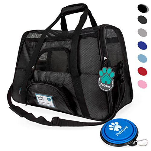 Premium Airline Approved Soft-Sided Pet Travel Carrier by PetAmi | Ventilated, Comfortable Design with Safety Features | Ideal for Small to Medium Sized Cats, Dogs, and Pets (Black)