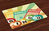 Ambesonne Vintage Place Mats Set of 4, Bingo Game with Ball and Cards Pop Art Stylized Lottery Hobby Celebration Theme, Washable Fabric Placemats for Dining Room Kitchen Table Decor, Multicolor