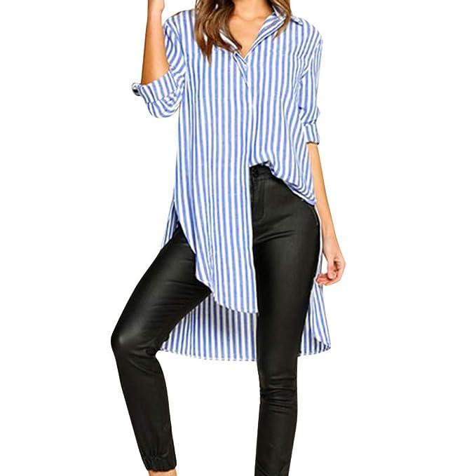 Blusa de Las Mujeres, Manadlian Botón de Mujer Raya Solapa Manga Larga Camisa Larga Irregular