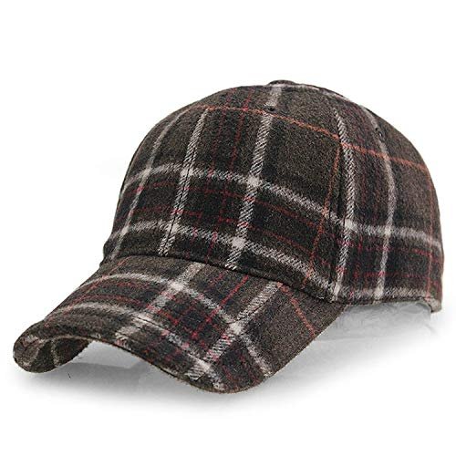 2019 New Winter Plaid Woolen Baseball Cap Men Women Cotton Snapbacks Baseball Hats Z-6246,Coffee