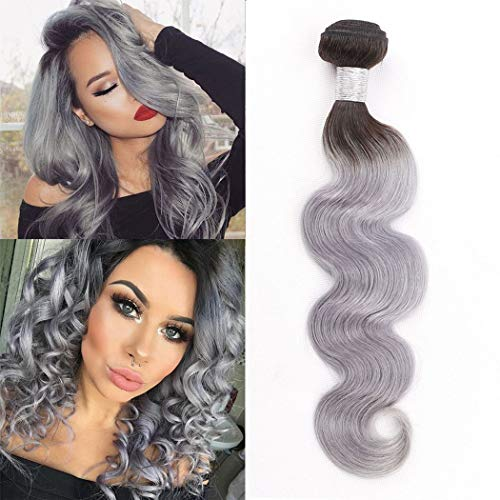 Ombre Hair Weave Body Wave 1B/Grey Brazilian Peruvian Virgin Hair Bundles Ombre Silver Hair Extensions Real Human Hair Bundles Sew In Hair Weft Extensions 100G/Pack(18inch)