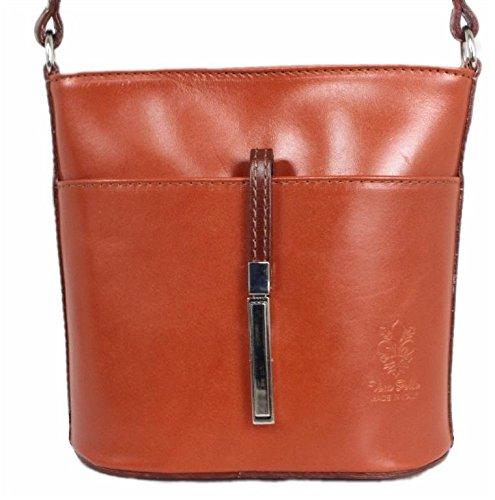 Cognac braun Italy nero A rosso Donna Rosso 4250736211195 Leatherworld Borsa Spalla zwFvwg