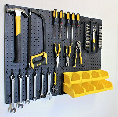 WallPeg Garage Storage System with Panels, Bins, Peg Board Hooks and Panel Set - Tool Parts and Craft Organizer (Kit with 8 bins)