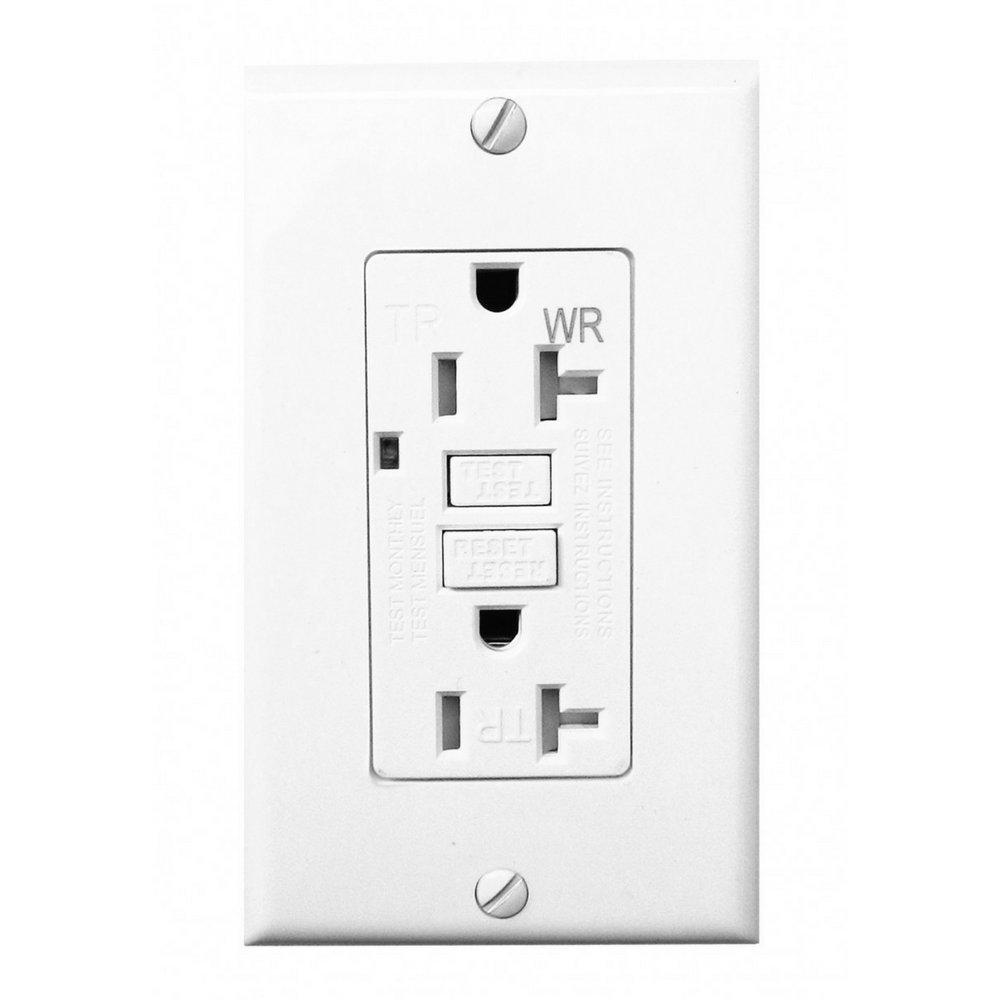 Four-Bros Lighting GFCI/20/WHT/TR/WR 20 Amp Gfci Outlet Receptacle 1 Single, Tamper Weather Resistant, 2 LED Power Indicators, 120/125V, UL2008, Ground Fault Circuit Interruptor, Gfi, White, Duplex