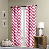 "Intelligent Design Libra Chevron Window Curtain Pair - Pink - 84"" Panel"