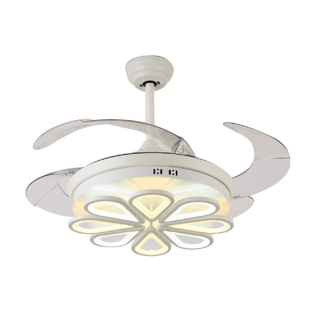 RS照明LEDモダンリビングルームファンInvisibleシャンデリアファッションホームベッドルームランプレストランライト 42 Inch INE5 B07DLC2YN2 クロム 42 Inch