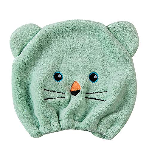 ❤SU&YU❤Microfiber Hair Turban Quickly Dry Hair Hat Wrapped Towel Bathing Cap (Green)
