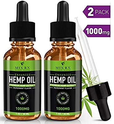 (2 Pack) Hemp Oil for Pain Relief Anxiety Sleep Support (1000mg | 30ml) Natural Organic Hemp Seed Full Spectrum Extract - Zero THC CBD Cannabidiol - Best Pure Herbal Supplements - Tincture Oil Drops