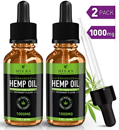 (2 Pack | 60mL) Hemp Oil for Pain Relief Anxiety Sleep Support (1000mg) Natural Organic Hemp Seed - Herbal Supplements - Tincture Oil Drops (Best Rated Cbd Oil)