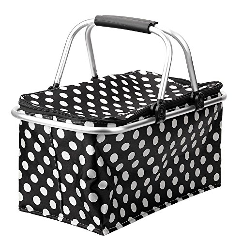 VIPASNAM-20L Insulated Folding Collapsible 600D Oxford Zip Closure Picnic Basket Bag