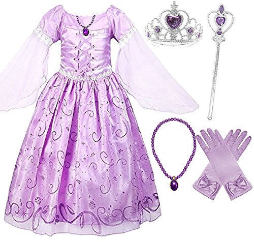 Romy's Collection Girls Rapunzel Deluxe Princess Dress Costume (6-7)