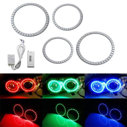 iJDMTOY Multi-Color 174-SMD RGB LED Angel Eyes Halo Ring Lighting Kit w/Remote Control for 2006-2012 BMW E90/E91 3 Series 4-Door with adaptive xenon HID headlights (Door Xenon 4)
