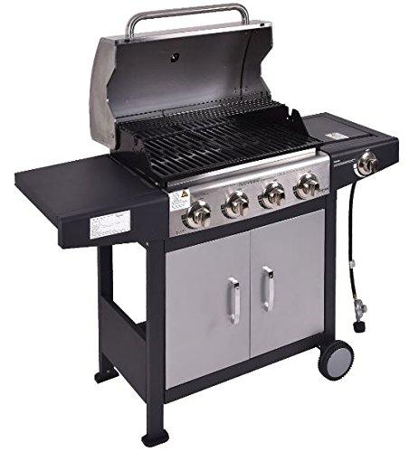 K&A Company Burners Gas Propane BBQ Grill with Casters 48,000 BTU 12,000 BTU lidded side burner K&A Company