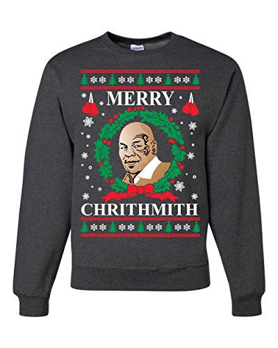Merry Chrithmith Mike Tyson Ugly Christmas Sweater Unisex Crewneck Sweatshirt ( Heather Black , Large ) -