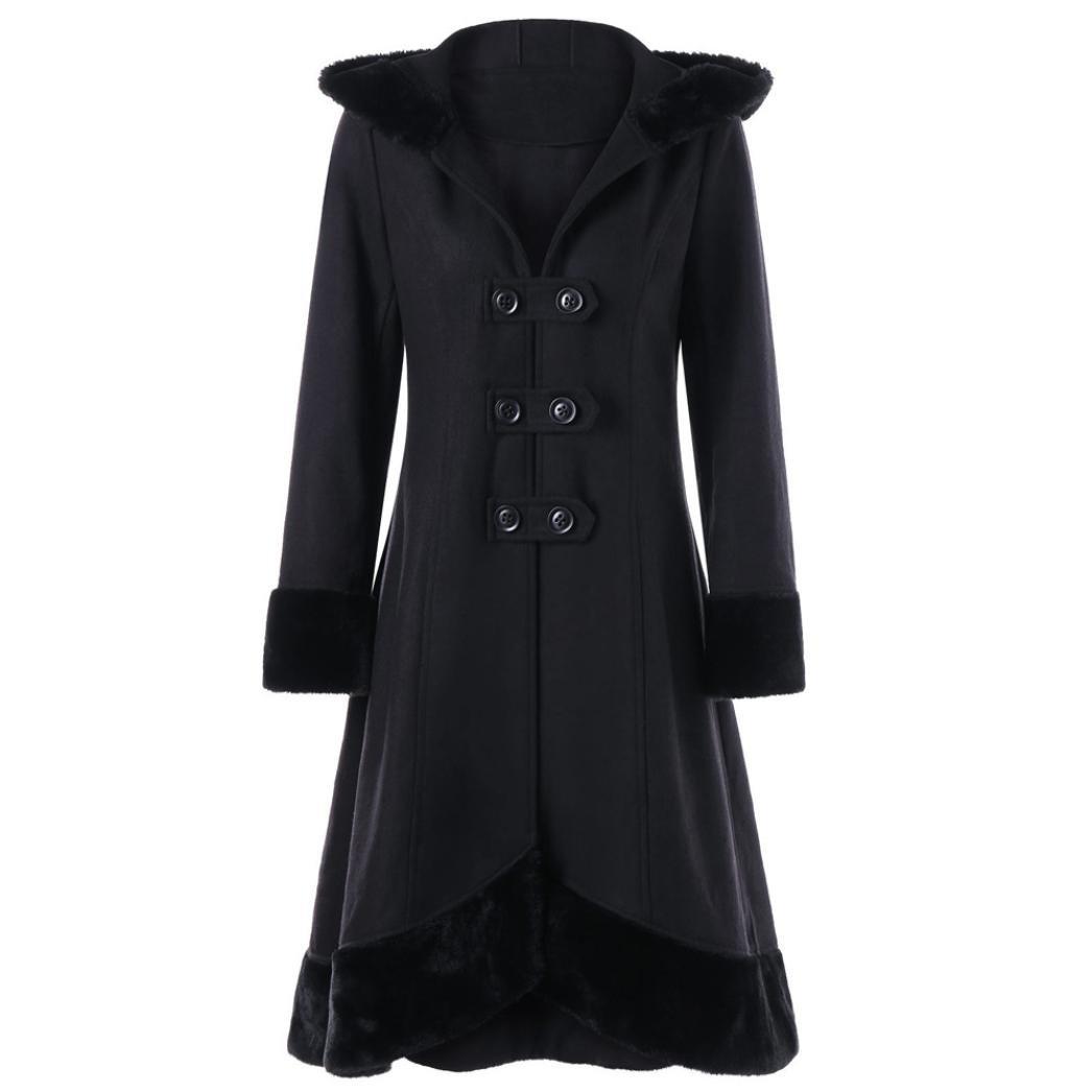 HP95(TM) Women Warm Slim Long Coat Button Jacket Thick Parka Overcoat