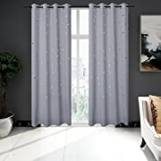 2 Panels BUZIO Twinkle Star Kids Room Curtains with 2 Tiebacks, Thermal Insulated Blackout Curtains with Punched Out Stars for Space Themed Nursery and Bedroom (52 x 84 inches, Greyish White)