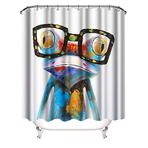 VividHome Frog Shower Curtain Cute Frog Wearing Glasses Waterproof Fabric Bathroom Curtain with Hooks 72×72 Inch (Shower Glass Curtains)