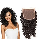 Passion Beauty Free Part Closure Brazilian Deep Wave Human Hair Lace Closure Natural Color 8-20 Inches