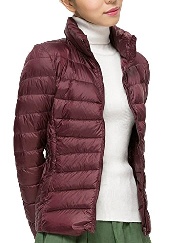 Puffer Red Jacket Jacket Packable Down Winter Women Dark PHZqzTUTw